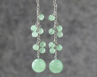 Jade long dangling chandelier Earrings Bridesmaids gifts Free US Shipping handmade Anni Designs