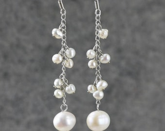 Chandelier pearl earrings Bridesmaid gifts Free US Shipping handmade Anni designs