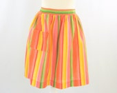 On Sale Citrus Twist Apron - Vintage 1960s Half Apron in Colorful Stripes of Green Yellow & Pink