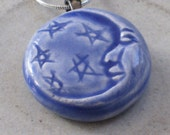 Pottery Necklace Blue Moon Face Stars Hand Made Gift For Her Him Celestial Jewelry Under 10