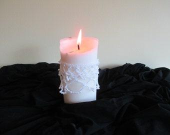 White/pearl beaded, candle drape.