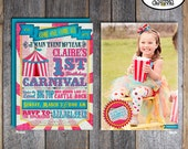 Carnival Photo Invitation | Circus Photo Invitation | Girl Carnival Birthday | Girl Circus Birthday | Address Labels | Pink Blue | Printable