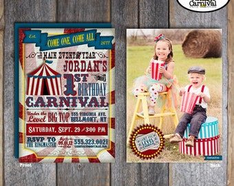 Carnival Photo Invitation | Circus Photo Invitation | Carnival Party Invitation | Carnival Birthday Invitation | Address Labels | Printable