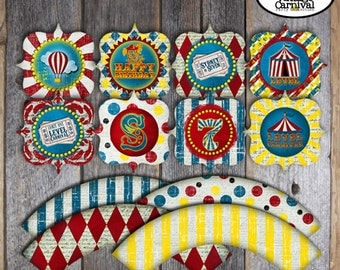 Carnival Party - Circus Party - Cupcake Toppers & Cupcake Wrappers - Customized Printable (Birthday, Big Top, Hot Air Balloon, Vintage)