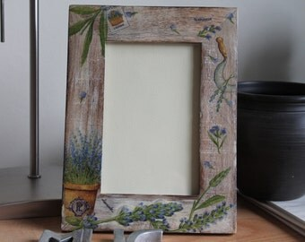 Rustic Decoupaged Wooden Shabby  Chic Picture Frame Lavender
