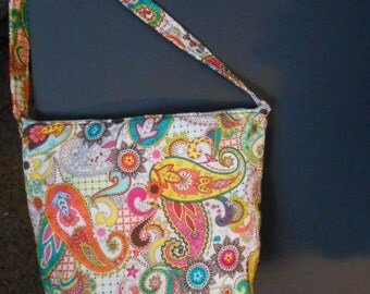 Handmade Paisley Print over the shoulder purse