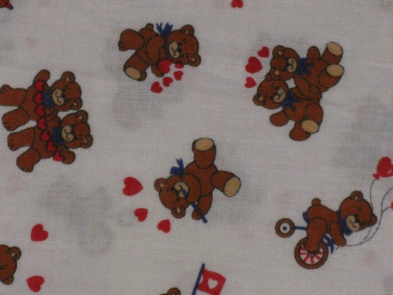 Vintage Valentine Cotton Fabric Teddy Bears And Hearts Love