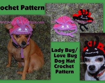 Instant Download Crochet Pattern - Lady Bug - Love Bug Dog hat Small Dog Beanie