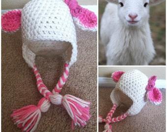 Crochet Baby Lamb Beanie/Hat