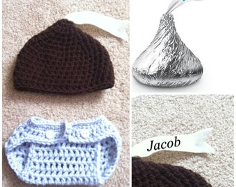 Crochet Hershey's Kiss Outfit (Beanie, diaper cover)