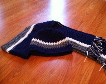 Handmade Crochet Dallas Cowboys Scarf set Unique Gift Under 40 Free Shipping