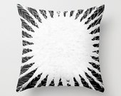 """Black and White Pillow Case - Decorative Abstract Pillow Cover -  Cactus Accent Pillow - Unique Throw Pillow  - 18x18"""" 45.72 cm"""