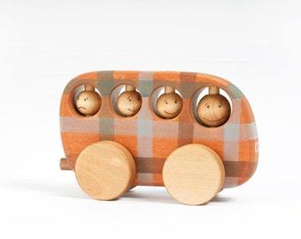 Wooden Toy Bus, natural kids toy orange- brown checked