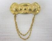 Beautiful Vintage Sash Brooch with Heart Filigree Design
