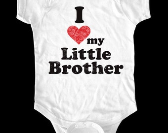 I Love (Heart) my Little Brother One-Piece, Infant Tee, Toddler, Youth Shirt