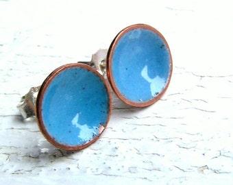 Aqua Blue Enamel Stud Earrings, Enamel on Copper, Sterling Posts