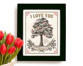 Mothers Day Gift I love You Oak Tree Framed Art Print