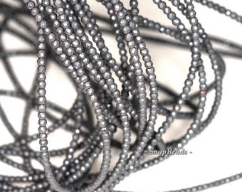 2mm Frosted Matte Black Hematite Gemstone Black Faceted Round Loose Beads 16 inch Full Strand (90148189-170-E)