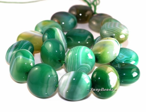 20MM Green Agate Gemstone, Swirly Green,  Flat Round Circle Coin 20MM Loose Beads 15.5 inch Full Strand (90162943-104)