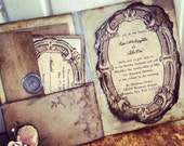 Pocketfold Wedding Invitations Vintage Book Victorian Wedding Pride and Prejudice Invitation