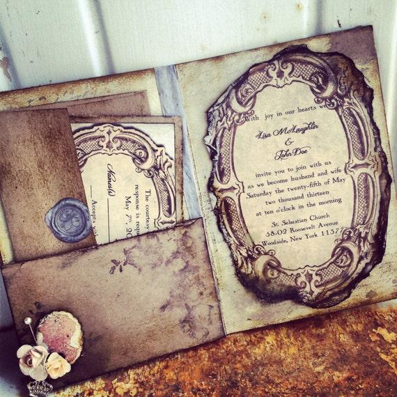 Items Similar To Pocketfold Wedding Invitations Vintage Book Victorian Wedding Pride And