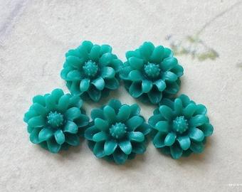 12 mm Malachite Green Color Little Daisy Chrysanthemum Resin Flower Cabochons  (.sm)
