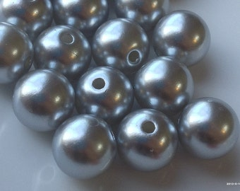 10 mm Silver Grey Colour Acrylic Round Pearl Beads.(.mag)