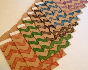 Multi-Colored Chevron Tags & Sacks - set of 8