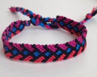 Bright Blue, Hot Pink, Bright Orange Arrow - Friendship Bracelet