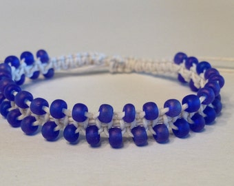 CLEARANCE - White Hemp Bracelet with Bright Purple Frosted Glass Beads