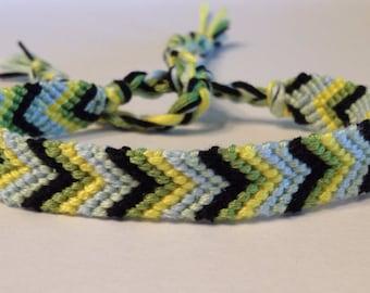Yellow, Green, Black & Pastels Chevron - Friendship Bracelet