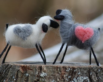 Shades Of Gray, Felted Sheep, Lambs Love You Love Ewe, Needle Felted & Wool Wrapped