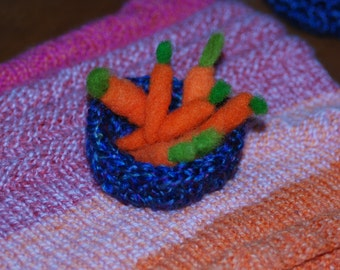 Bowl Of Carrots, Purple Crocheted Bowl With Needle felted Carrots For Easter Bunny, Handmade