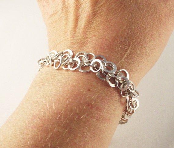 Hammered Shaggy Loop Chain Maille Bracelet in Argentium Sterling Silver