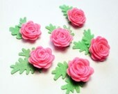 Pink Felt flowers and felt leaves. For pins, headband, crafts and more