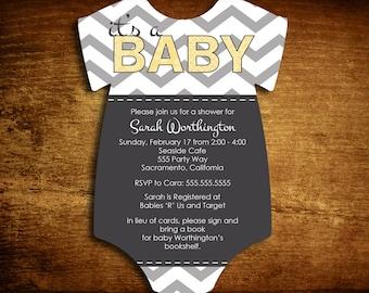 Set of 25 Die Cut Gender Neutral Baby Shower Invitations