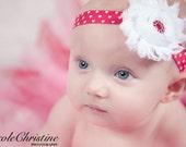 Red and White Heart Headband - Valentine's Day Headband - White Chiffon Flower, Red Rhinestone Center on Heart Band - Baby, Toddler, Adult