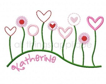 Field of Heart Flowers - Valentine Applique Design - Machine Embroidery Design - INSTANT DOWNLOAD