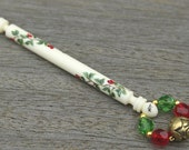 Painted Midland Lace Bobbin - spiral of red berries and leaves on bone