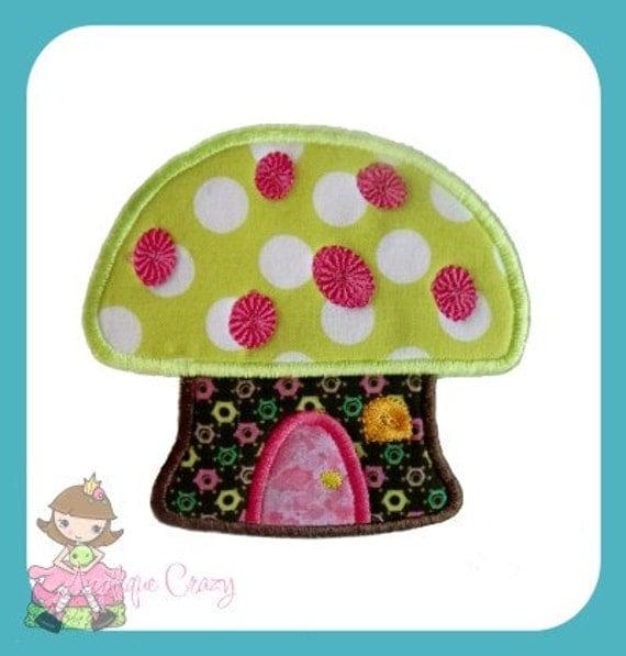 Mushroom House Applique Embroidery file