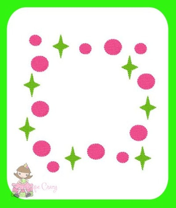 Circles and Stars Frame Embroidery file