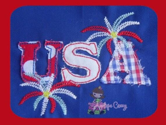 USA raggedy applique design