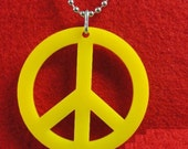 YELLOW PEACE Pendant Necklace Bead Chain