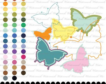 Butterfly clip art clipart frame, butterfly clipart silhouette frame, butterfly text frame : e0133 v301 black white