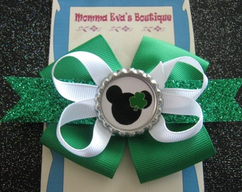 Momma Eva's --Green Sparkles Minnie Inspired Shamrock Cutie Boutique Hair Bow // Medium 3.5 inch Style //  Ready To SHiP
