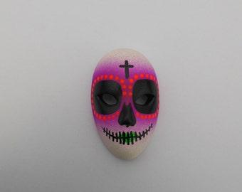 Halloween / Day of the Dead Dia de los Muertos Calavera medium Sugar Skull Hand-painted porcelain mask Purple, Orange, and Green