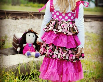 Bella Ruffled Dress Sewing Pattern, INSTANT DOWNLOAD, 6 months to 10 years, pdf sewing pattern, Childrens Dress Pattern