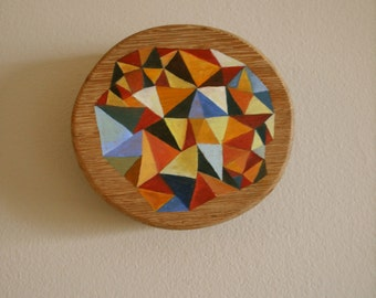 Your Triangle Heart-Abstract Oil Painting on Wood Composition #1