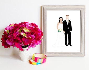 Though Very Humble : Custom Lovebirds Side by Side 8x10 Portrait Illustration