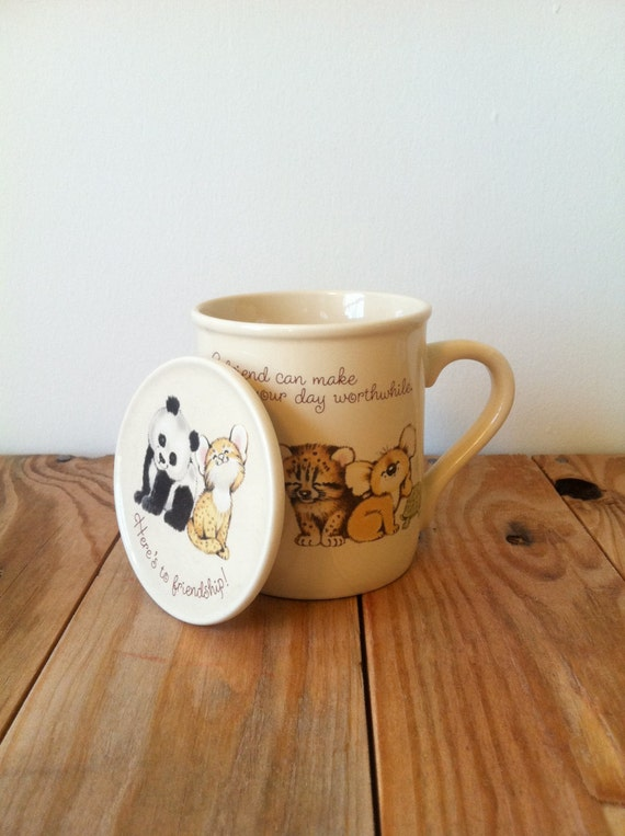 Vintage 1983 Hallmark MUG Mates Baby ANIMAL Friends Coffee / Tea Mug with Matching LID / Coaster